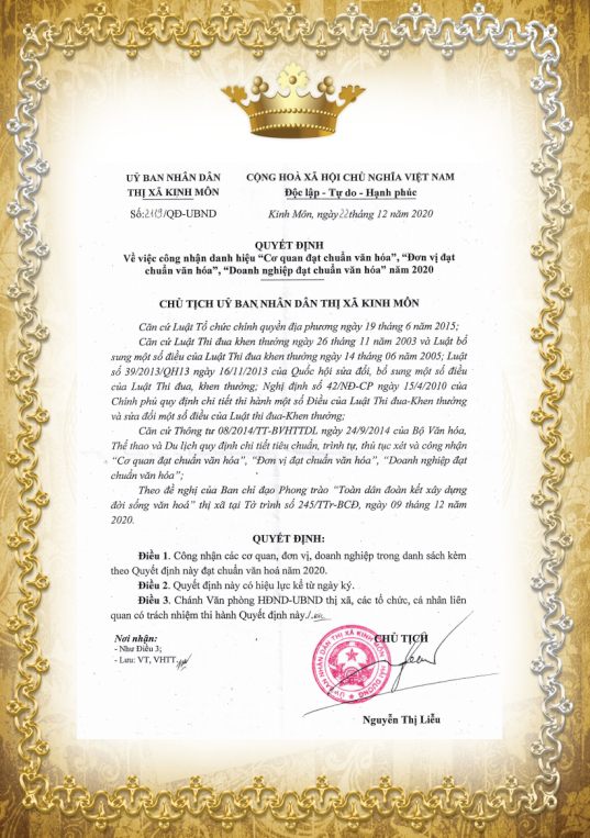 "NHQ IS RECOGNIZED THE TITLE  ""enterprise meeting cultural standards""  by People's Committee of KINH MON COMMUNE IN 2020"